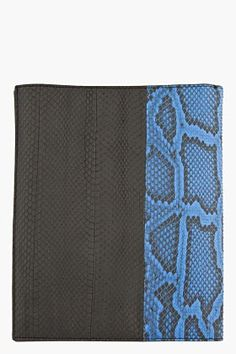 Lanvin has the cure for your iPad blues, priced at $800 and available through ssense online store, check out this Python Skin iPad case in a super dope black and blue combination.   Rectangular pythonskin flat bifold iPad case in black and royal blu