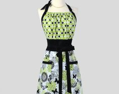 Cute Kitsch Retro Apron - Handmade Full Womens Apron in Vintage Black and Lime Green Butterflies Kitchen Apron