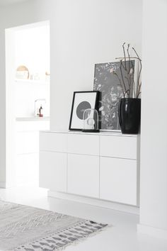 Scandinavian Interior - Hallway. Use IKEA Veddinge kitchen wall cabinets.