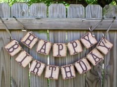 Burlap Happy Birthday Banner Rustic Party by theartofhandmades, $26.95