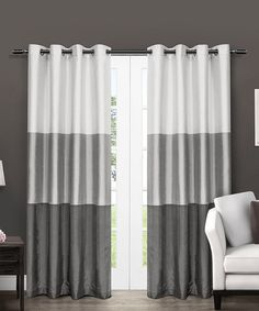 Grey Striped Curtains