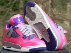 new concept e371d b9556 Nike Air Jordan 4 Retro Girls Gs Size 6.5Y Pink Purple Grey 487724-607   Jordan  Athletic