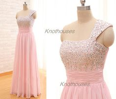 One shoulder Cap sleeve Beaded sequin decorated Long Pink Chiffon prom dress/Homecoming dress  V-Halter Aqua Chiffon prom dress/ Beaded Halter dress/ Floor length Homecoming dress  This dress can be custom made, both size and color can be custom made. Custom size and color made will charge fo...