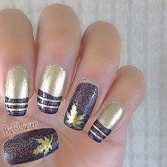 Autumn nails. Brown glitter nail art