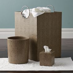 Faux Leather Bathroom Hamper - Our smooth taupe faux leather bathroom hamper brings a sense of modern sophistication and order to the world of laundry.