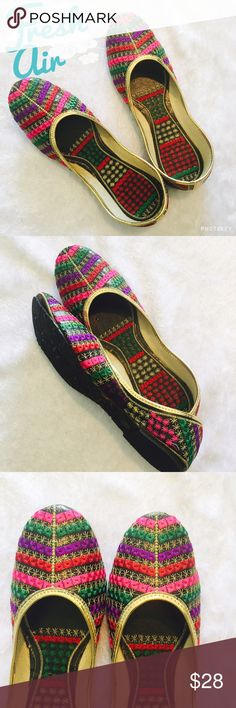 Multicolor  embroidered Indian flats Very pretty Indian shoes with multicolor handmade embroidered with gold on edging . Shoes are from India but size mentioned in the listed in based on USA sizing . Please ask Any Q before u buy . Shoes Flats & Loafers