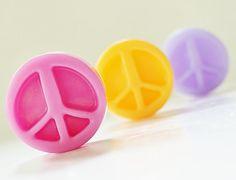 30 BULK PEACE SIGN Mini Soaps   Choose Scent & Color by crimsonhill