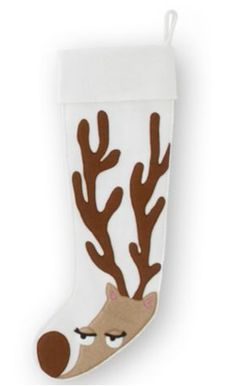Reindeer Stocking - No pattern, but could eyeball something similar. Add tinsel, pompoms or ornaments to the antlers and it'd be much more festive.