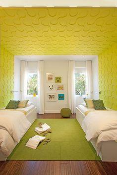 Couleur chambre enfant : jaune, vert et marron