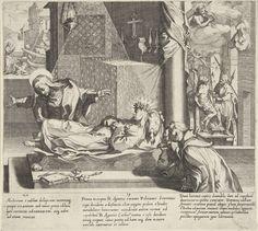 Pieter de Jode (I)   Catharina redt een vrouw / Catharina bij de heilige Agnes / Catharina bidt om vergeving, Pieter de Jode (I), Francesco Vanni (II), Francesco Vanni (II), 1597   Van links naar rechts: Na een zware storm ligt een vrouw onder het puin van haar huis begraven. Catharina redt de vrouw.; Catharina bezoekt het lichaam van de heilige Agnes van Montepulciano dat opgebaard is in een kapel. Ze buigt voorover om de voeten van Agnes te kussen en de voet komt vanzelf omhoog.; Catharina…