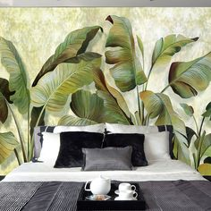 Wholesale- Custom Mural Wallpaper Southeast Asian Tropical Green Banana Leaf Wallpaper Bedroom Living Room Background Wall Decor Wallpaper - Home Design