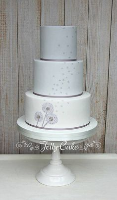 Dandelion Wedding Cake | A reverse ombre grey to white weddi… | Flickr