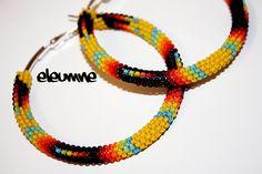 Yellow+Fire+Native+American+Beaded+Hoop+Earrings+by+eleumne,+$50.00