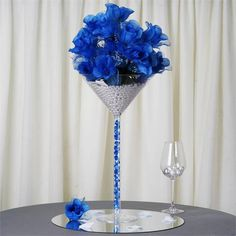Efavormart 4 Sets of Wholesale Plastic Sturdy Centerpiece XL Martini Cup Stand Tabletop Decor Wedding Party Event Decoration Royal Blue Centerpieces, Silver Wedding Centerpieces, Silver Party Decorations, Vase Centerpieces, Centerpiece Decorations, Decor Wedding, Vases, Wedding Ideas, Martini Centerpiece