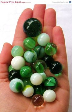 Vintage Green & White Glass Marbles. ( now considered choking hazards) !!!