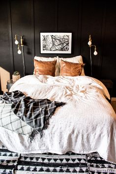 Dark moody bedroom with black walls and gold accents! Decor, Adjustable Bed Frame, Moody Bedroom, Bedroom Pillows, Cheap Home Decor, Home Decor, Black Walls, Bedroom Decor, Bedroom
