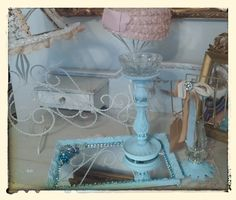 Upcycled vintage vanity tray...bling it up! Love to repurpose!