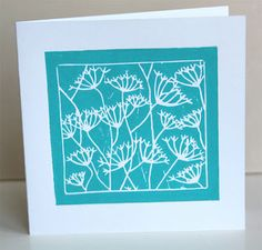 lino cut greeting card with floral design