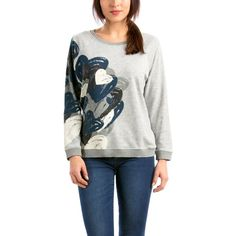 Desigual Women's Knitted Long Sleeve Sweatshirt with Heart Print ($20) ❤ liked on Polyvore featuring tops, hoodies, sweatshirts, long sleeve sweatshirt, heart print top, long sleeve tops, desigual and desigual tops