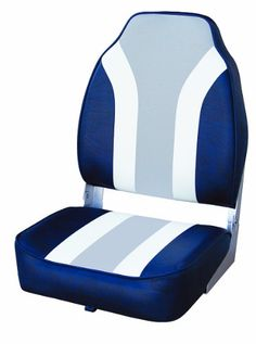 Boating-Wise Classic Stripe High Back Boat Seat, Navy-White-Grey * Details can be found by clicking on the image.
