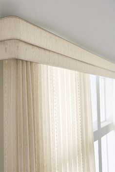 Sheer Vertical Blind: Cascade, Champagne 2080; Double Round Corner Valance