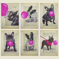 Via Coco de Paris @ Etsy.  Love.    http://www.etsy.com/listing/73523308/french-bulldog-with-bubblegum-original