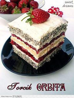 Torcik ORBITA Składniki na biszkopt makowy: - 3 jaja… na Stylowi.pl Polish Desserts, Polish Recipes, No Bake Desserts, Delicious Desserts, Baking Recipes, Cake Recipes, Dessert Recipes, Baking Cupcakes, Cupcake Cakes