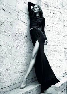 Black long-sleeve maxi dress