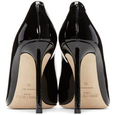 Jimmy Choo Black Patent Romy Heels (2.160 RON) ❤ liked on Polyvore featuring shoes, pumps, heels, heels stilettos, pointed toe pumps, black patent pumps, jimmy choo pumps and pointy toe pumps