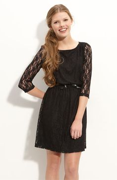 Lace Dress with Bow Belt (Small or Medium)