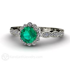Emerald Engagement Ring 14K Diamond Halo Emerald Ring by RareEarth