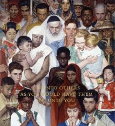 """""""Golden Rule,"""" Norman Rockwell, 1961. Norman Rockwell Museum Collections. ©1961 SEPS: Curtis Publishing, Indianapolis, IN."""