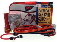 YOU'RE A LIFESAVER  Keep your loved ones safe and sound with this AAA-certified Emergency Roadside Kit. This kit's got it all: jumper cables, a flashlight, rain poncho and a 45 piece first aid kit. There's also a Car Care Guide to help your honey avoid getting stuck somewhere in the first place. If he ever has to use it, he'll love you for saving him. ($39.99)