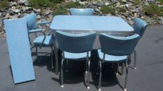 Vintage Aqua Retro 1950's I LOVE LUCY table and 5 chairs, Rare Captains Chair,