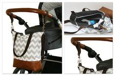 Wickeltasche, Kinderwagentasche, Bowleanies, handmade, Tasche, Leder, Nähen, Sick-Zack-Muster