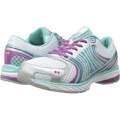Ryka Kora (White/Aqua Sky/Enamel Blue/Dahlia Mauve/Chrome Silver)... ($52) ❤ liked on Polyvore featuring shoes, athletic shoes, white, silver shoes, blue athletic shoes, flexible running shoes, running shoes and ryka shoes