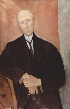 Амедео Модильяни - Сидящий мужчина на оранжевом фоне (1918) - Частная коллекция