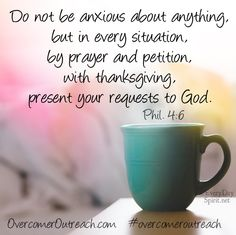 Come to God and lay your anxiety at His feet-- His peace is so much greater. #overcomeroutreach #peace #faith