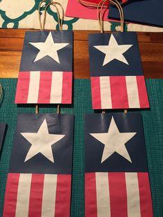 DIY  Captain America  birthday goodie bags