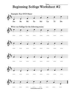 Beginning Solfege Worksheet # 2 For Classroom Instructions