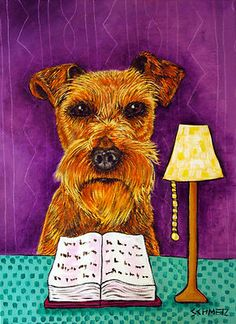 IRISH TERRIER READING library Picture dog art on Canvas Print schmetz gift