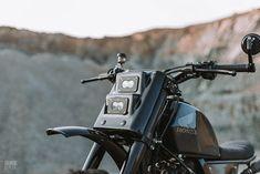 A Honda NX 650 Dominator scrambler from Asphalt and Gravel Dominator Scrambler, Ducati Scrambler Custom, Scrambler Motorcycle, Honda Motorcycles, Cb350, Custom Mini Bike, Custom Bikes, Custom Headlights, Led Headlights