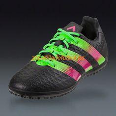 Barato Botas de futbol Para Hombre Adidas Ace 16.3 TF Turf Negro Verde Rosa Choque Solar