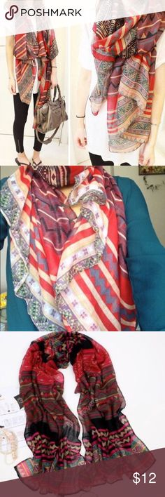🍁🍂Fall scarf - 100% brand new bad high quality  - Beautiful geometric floral print fall and winter scarf - Dimension approx 165x85cm, cotton material  - Ship same day if purchased before 2pm - Check out my closet for more deals and bundles saved Accessories Scarves & Wraps