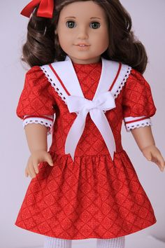 Red and White Sailor Dress for American Girl doll by BabiesArtUs