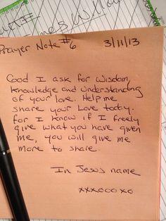Prayer Note #6
