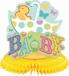 """Tiny Bundle Honeycomb 15in Centerpiece by AMSCAN. $4.49. Honeycomb Tissue Base. Cardboard Topper. Perfect for a Neutral Baby Shower. Coordinates with Tiny Bundle and Great Expectations. 15"""" Tall. Use as a centerpiece or decoration. Each Tiny Bundle centerpiece measures 15"""" in height and features polka dot umbrella, yellow ducky, colorful butterflies and the word baby atop a yellow honeycomb base.. Save 46% Off!"""
