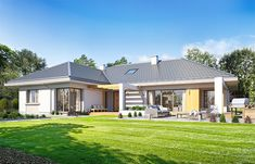 Willa parterowa on Behance Modern Bungalow House, Bungalow Interiors, Bungalow House Plans, My House Plans, Modern House Plans, Modern House Design, Beautiful House Plans, Village House Design, House Design Pictures