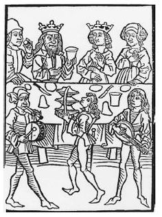15th C woodcut depicting a medieval banquet where king queen shown w tasters