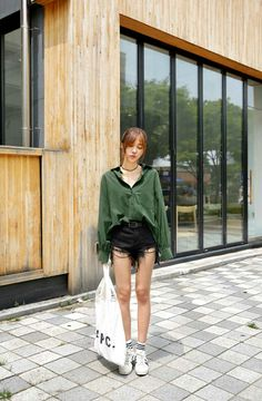 Distresed High Waisted Shorts And Tote Bag